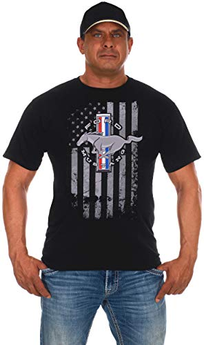 JH DESIGN GROUP Men's Ford Mustang Black T-Shirt Distressed American Flag (Large, Black)