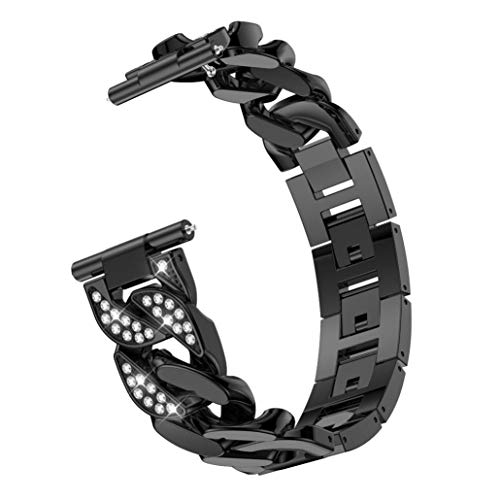 Single Row Chain - Insaneness Single Row Cowboy Chain Metal Crystal Watch Band Wrist Strap For Fitbit Versa Watch Bracelet Link Ring (Black)