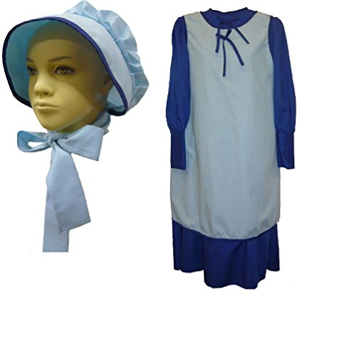 Colonial Schoolgirl Dress Apron & Bonnet Prairie Dress Laura Ingalls (Colonial Fence)