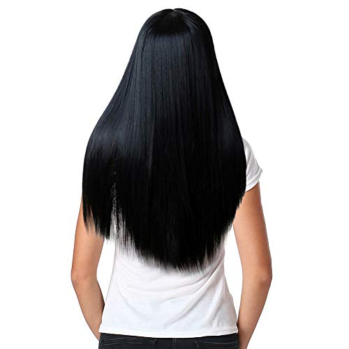 Anboo Women Wigs Long Straight Hair Natural Synthetic Mix Hair Wig Party Custome Daily Wigs Bangs Fringe Long Wavy Wigs