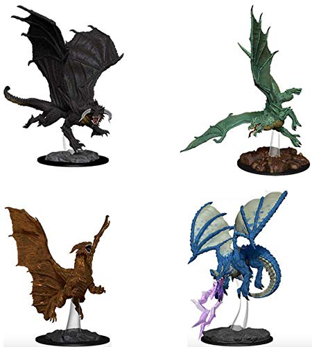 (Dungeons and Dragons: Nolzur's Miniatures Young Copper Dragon, Green Dragon, Black Dragon, Blue Dragon Miniature Set)