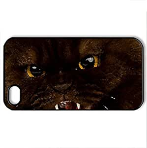 Angry Cat - Case Cover for iPhone 4 and 4s (Cats Series, Watercolor style, Black)