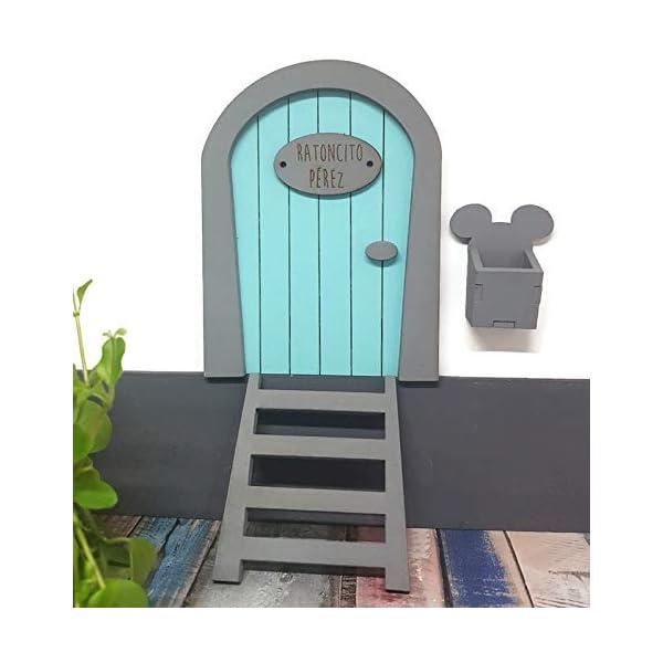 Puerta Ratoncito Pérez azul de madera,con escalera,buzón y certificado. Producto artesanal hecho en España 4