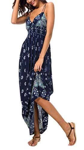 Urban CoCo Women's Backless Sundress Boho Summer Beach Long Dress (L, Navy)