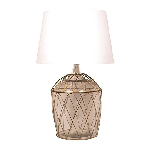 Renwil Kawartha Table Lamp in Antique Brass and Clear Glass
