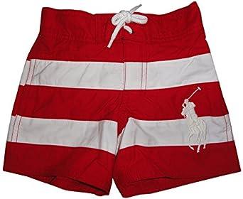 Polo Ralph Lauren Boy\u0026#39;s Big Pony Swim Trunks Red and White Striped