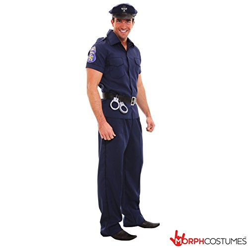 Mens Policeman Detective Uniform Shirt Fancy Dress Costume - 5 Piece