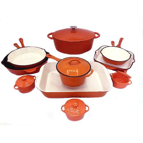 Le Chef 15-Piece Enamel Cast Iron Cookware Set, Orange. ()