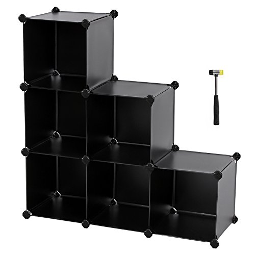 SONGMICS Storage Cube Organizer DIY Plastic Closet Shelf with Rubber Hammer 6-Cube Bookcase Cabinet Black ULPC06H