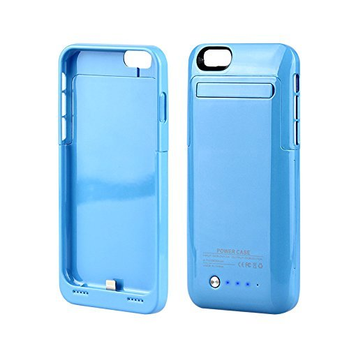 iPhone 6 6S Case Charger MUZE® 4.7 Inch 3500mah Battery Back Up Case Chargers Battery Packs Built-in Video Kickstand Retail Packing (Blue/for iphone 6 6S/1pcs)