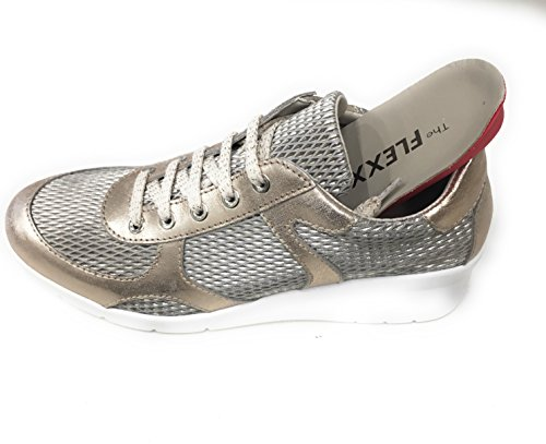 C WALKY Scarpa Pelle Sneaker Retina Donna 07 Talky Zeppa 3011 Gold Dune The FLEXX awTqx5WR