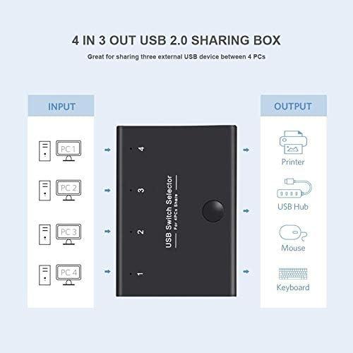 DIGITNOW Selector de conmutadores USB, 4 puertos USB periféricos para 4 ordenadores, compartiendo 3 dispositivos USB, teclado, ratón, escáner, impresora, con 4 cables USB 4