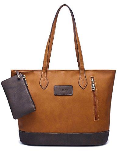 Leather Pocketbook - ilishop Women's PU Leather Tote Handbag Contrast Color Shoulder Bag (Brown)