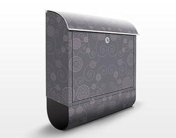 Design Briefkasten Romantisches Blumenmuster Grau Motiv Geburtstag