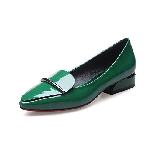 Zapatos Mujer Primavera/zapatos bajo acentuados poco profundos/zapatos/Simple versátil charol zapatos de tacón grueso C