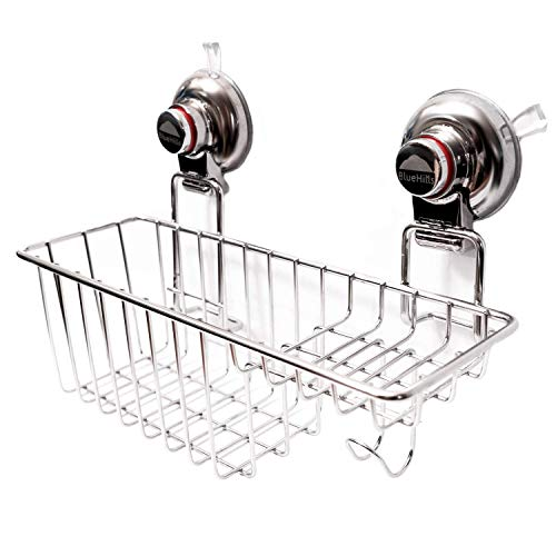 BlueHills Super Strong Premium Rust Proof Stainless-Steel Metal Suction Cup for Bathroom Kitchen Large Caddy, Soap Shampoo Makeup Spice Suction Cup Kitchen Caddy Organizer with Hooks, C002