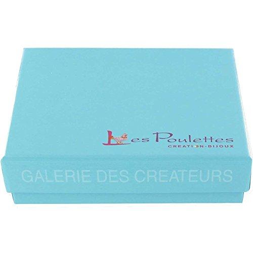 Les Poulettes Bijoux - Bracelet Cuir et Rectangle Argent 925 - Cuir Bleu Foncé