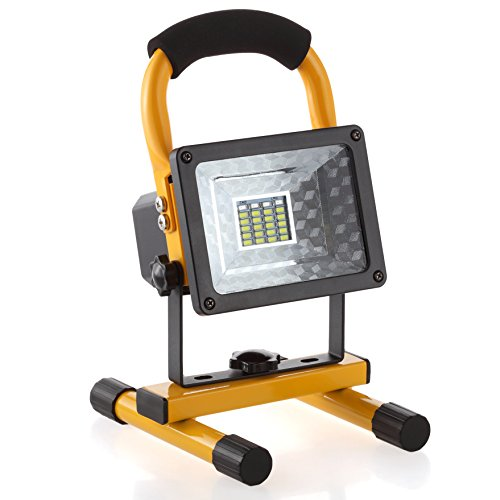 LED Rechargeable Flood Light, Portable 15W 24 LED Cordless Spotlight LED Emergency Work Light, Outdoor Waterproof Handheld Camping Security Light, 3 Mode, Yellow