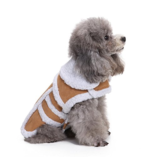 ZUNEA Thick Soft Windproof Dog Snow Coat Dog Warm Jacket Winter Dog Clothes Dog Vest Parka for Small Pet Puppy Dog Cat Brown M