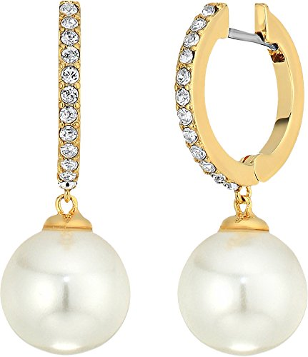 Kate Spade New York Women's Precious Petals Drop Earrings Clear/Gold One (Pearl Petals)