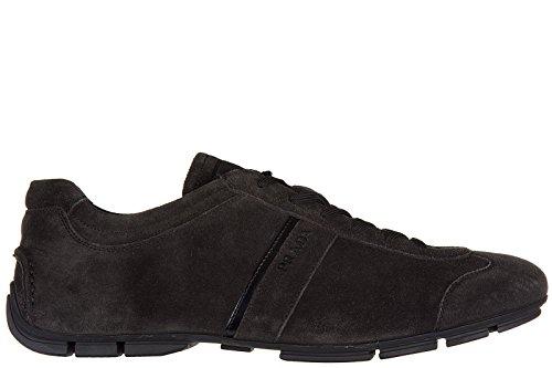 Prada chaussures baskets sneakers homme en daim gris