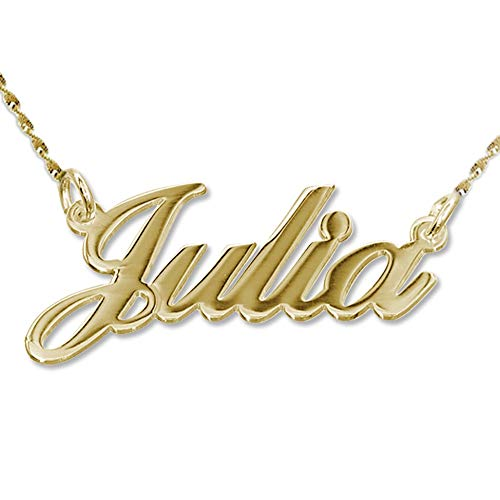 14k Solid Gold - Extra Thick Name Necklace Custom Made Jewelry- Personalized Gift