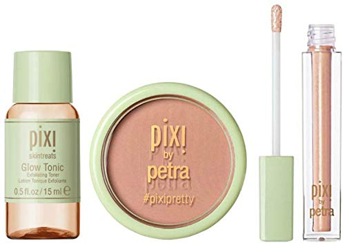 (Pixi By Petra Fresh Face Blush Beach Rose, Glow Tonic Exfoliating Toner & Liplift Honey Sheen Travel Size, 3 Piece Set)