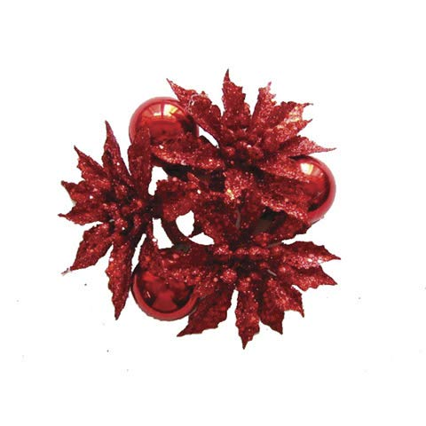 (Darice®Ornament and Poinsettia Candle Ring: Glitter Red, 5 x 2in)