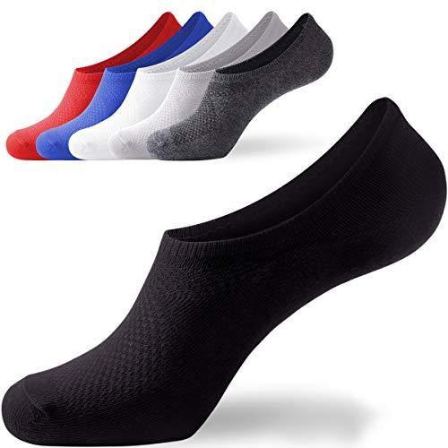 - No Show Socks for Men Low Cut Cotton Boat Socks - Non Slide Ankle Casual Short Socks 6 /5Pair ...