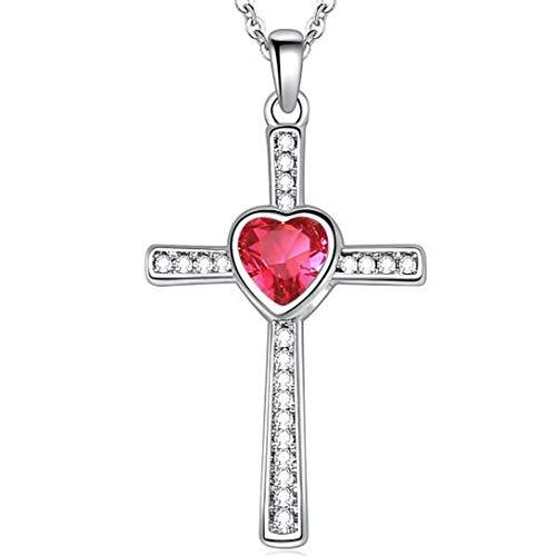 (Jude Jewelers Stainless Steel Heart Shape Birthstone Cross Pendant Necklace (Jul-Ruby))