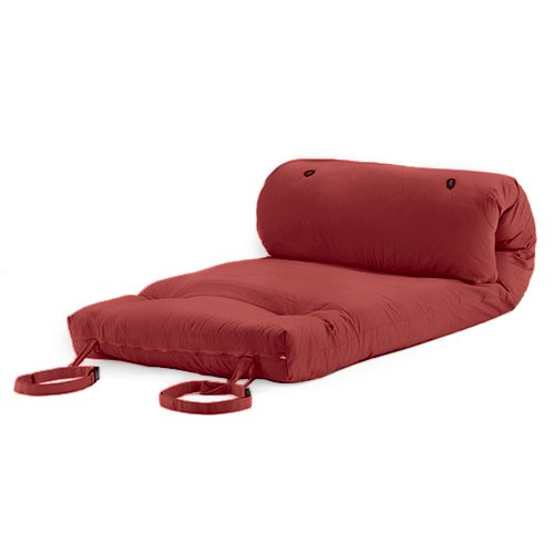 Changing Sofas Wine Cotton Twill 'Brooklyn' Roll Up Camping Futon Mattress