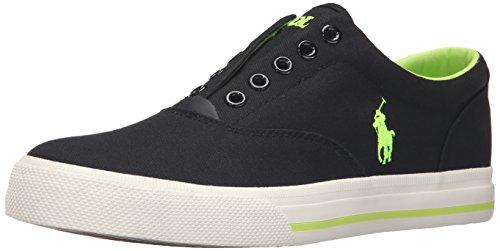Polo Ralph Lauren Men's Vito Fashion Sneaker, Black/Neon Yellow, 8 D US