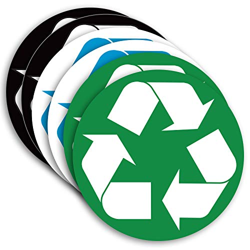Recyclable Decals Waste - Recycle Sticker for Trash Can Bins, Sign Decal - 6 Pack 5 in - Premium Self-Adhesive Vinyl, Laminated for Weatherproof, UV Resistant, Encourage Recycling, Indoor and Outdoor.