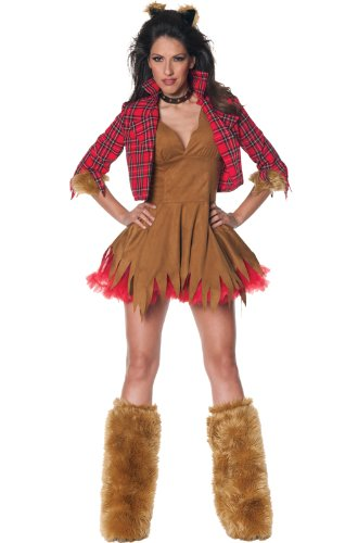 [Underwraps Women's Howlin', Brown/Red, X-Large] (Red Furry Monster Costume)