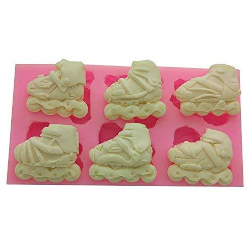 Ice Skates Shape Silicone Ice Cube Mold Silicone Fondant Mold Chocolate Mold Soap Mold for Decorating Cakes (Ice Skate Cake Mold)