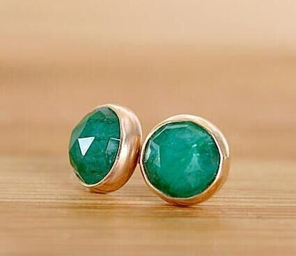 Natural Green Emerald (Natural Emerald Earrings, Emerald Stud Earrings, Rose Cut Green Gemstone Posts, May Birthstone:)