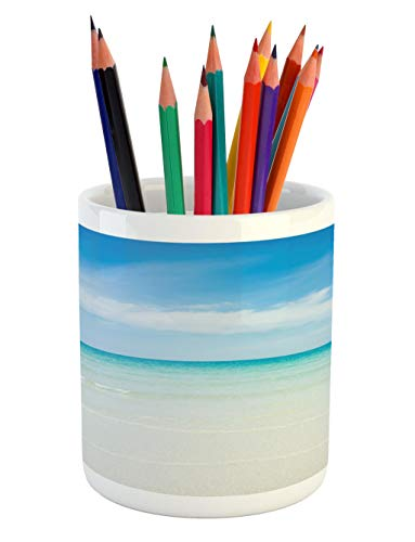 - Lunarable Ocean Pencil Pen Holder, Beach at The Tropical Water Lands Color Sea with Magical Sky Surf Hot Paradise, Printed Ceramic Pencil Pen Holder for Desk Office Accessory, Turquoise Blue