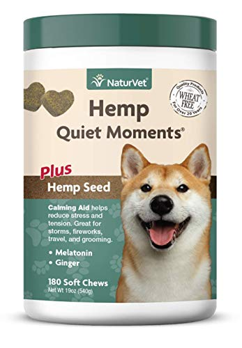 NaturVet - Hemp Quiet Moments Calming Aid for Dogs - Plus Hemp Seed | Helps Reduce Stress & Promote Relaxation | Great for Storms, Fireworks, Separation, Travel & Grooming (180 - Grooming Soft