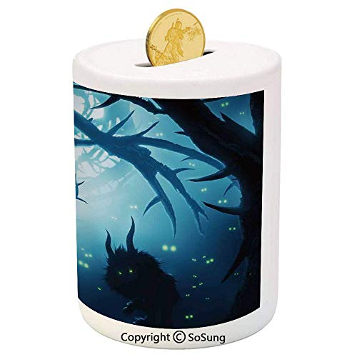 SoSung Mystic House Decor Ceramic Piggy Bank,Animal with Burning Eyes in Dark Forest at Night Horror Halloween Illustration 3D Printed Ceramic Coin Bank Money Box for Kids & Adults,Navy White -