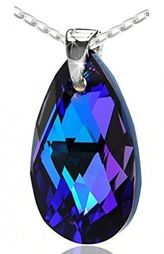 Purple Blue 925 Sterling Silver Made with Swarovski Elements Teardrop Pendant Necklace for Women on a chain,18