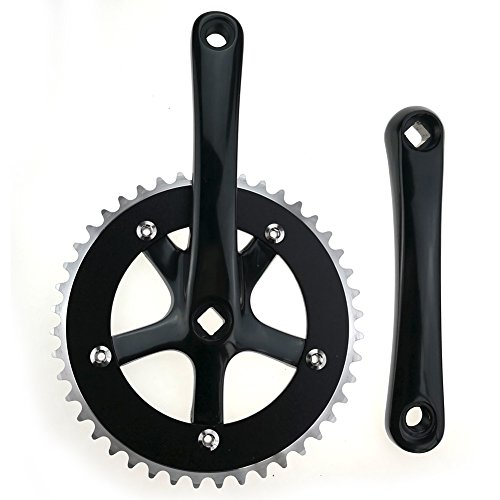 FOMTOR Fixie Crankset 44T Single Speed Fixed Gear Track Bicycle Crankset Fixie Crank Set 130mm ()