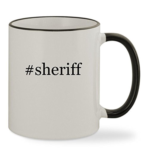Disney Sheriff Callie Costume (#sheriff - 11oz Hashtag Colored Rim & Handle Sturdy Ceramic Coffee Cup Mug, Black)