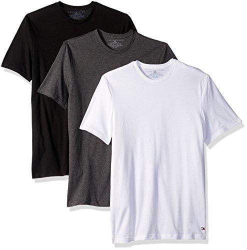 Tommy Hilfiger Mens Crewneck (Tommy Hilfiger Men's Undershirts 3 Pack Cotton Classics Crew Neck T-Shirts, White/Gray/Black, X-Large)