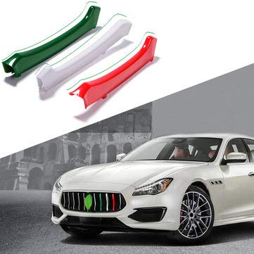 M Color Car Front Grill Grille Cover Clip Trim Moulding Trim Strip for Maserati Ghibli 2014-2017 - Exterior Accessories Body Armor ()
