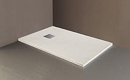80 x 100, Bianco Piatto doccia in marmoresina con piletta di scarico effetto pietra