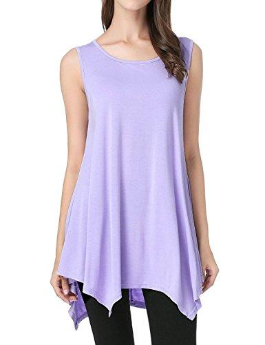 JollieLovin Womens Plus Size Loose-fit Sleeveless T-Shirt Tank Tunic Top(S, Light Purple)