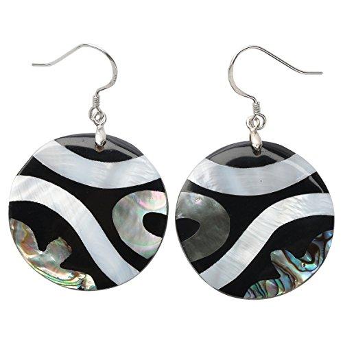 Hiddleston Jewelry 925 Sterling Silver Abalone Shell Dangle Drop Earrings for Women Teen Girls (Round) -