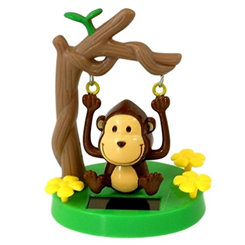 Greenbriar Plastic Solar-Powered Swinging Monkey, Style May Vary