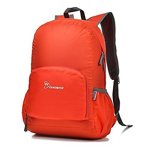 Mountaintop 25L Faltbarer Rucksack für Männer, Frauen und Kinder - als Reiserucksack,Tagesrucksack,Handgepäck,Orange