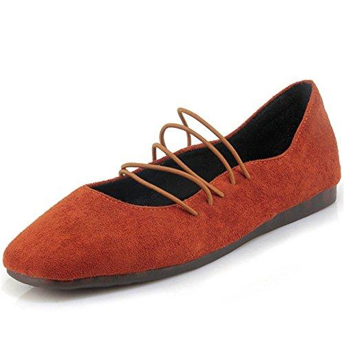 Low Light Faux Suede Orange Shoe Womens xiaoyang Ballet Heels Flat xqwT4O6